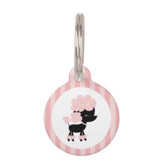 Pink and Black French Poodle Pet Name Tag