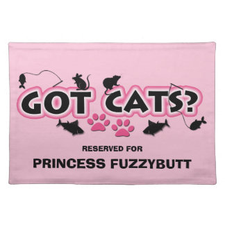 Pink and Black Funny Got Cats? with Name Placemat