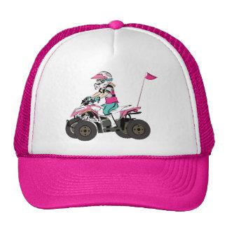 Pink and Black Girl ATV Rider Trucker Hat