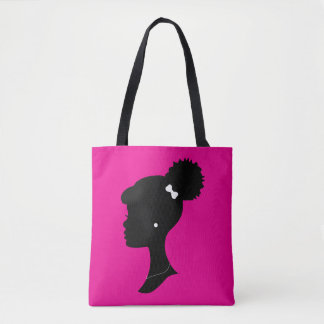 Pink and Black Girl Puff Silhouette Tote Bag