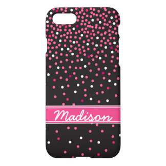 Pink and Black Girly Confetti Glitter Polka Dots iPhone 7 Case