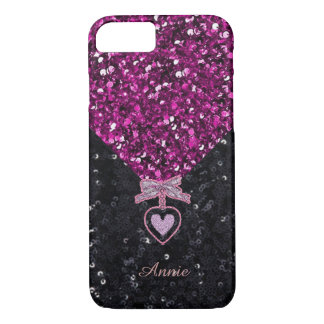 Pink and Black Glitters iPhone 8/7 Case