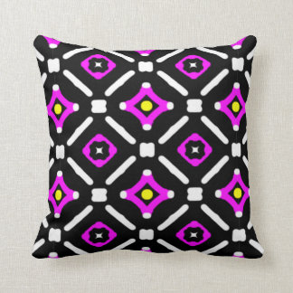 Pink and Black God's Eye Pattern Throw Pillow