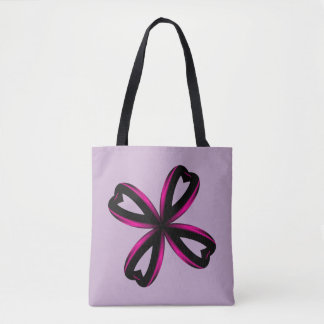Pink and Black Gradient Four Leaf Heart Tote Bag