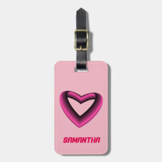 Pink and Black Gradient Heart Luggage Tag