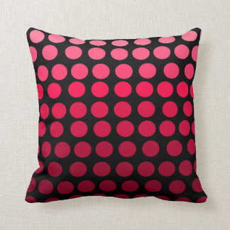 Pink and Black Gradient Ombre Polka Dot Throw Pillow