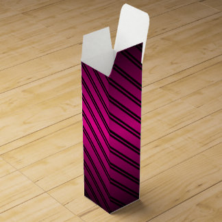 Pink and Black Gradient w/Black Stripes Wine Box