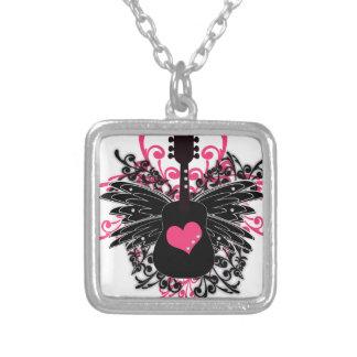 Pink and Black Guitar Swirl Custom Jewelry