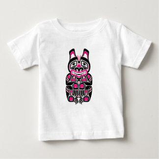 Pink and Black Haida Spirit Bear on Black Baby T-Shirt