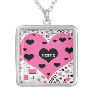 Pink and Black Heart  design Necklace Square Pendant Necklace