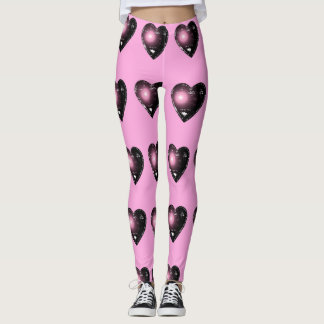 Pink and Black Heart Pattern Leggings