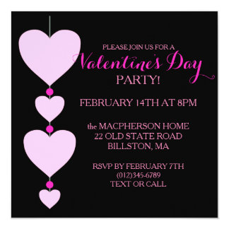Pink and Black Heart Valentine's Party Invitation