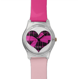 Pink and Black Heart Watch