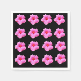 Pink And Black Hibiscus Pattern, Paper Napkin