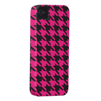 Pink and Black Houndstooth Pattern Case