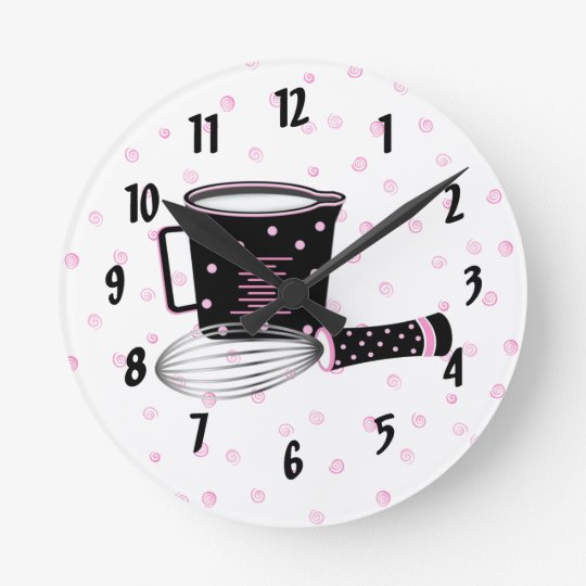 Pink and Black Kitchen Clock