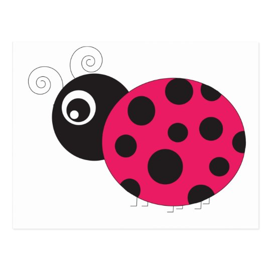 Pink and Black Ladybug Faded Postcard