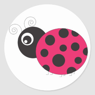 Pink and Black Ladybug Faded Round Stickers