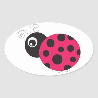 Pink and Black Ladybug Faded Stickers