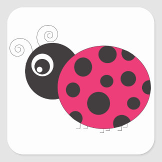 Pink and Black Ladybug Faded Square Sticker