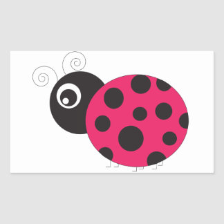 Pink and Black Ladybug Faded Rectangular Sticker