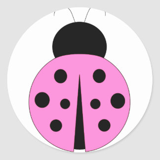 Pink and Black Ladybug Round Sticker