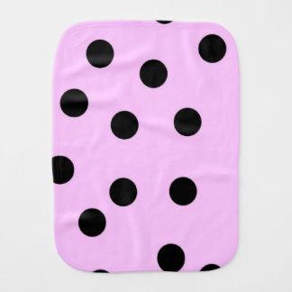 Pink And Black Large Polka Dots Burp Cloth