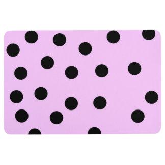 Pink And Black Large Polka Dots Floor Mat