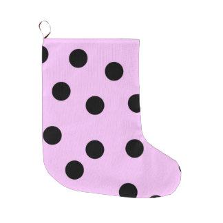 Pink And Black Large Polka Dots Large Christmas Stocking