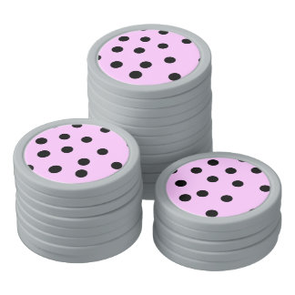 Pink And Black Large Polka Dots Poker Chips