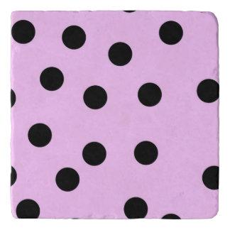 Pink And Black Large Polka Dots Trivet