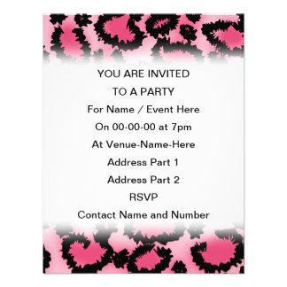 Pink and Black Leopard Print Pattern Personalized Invite