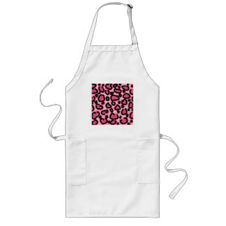 Pink and Black Leopard Print Pattern. Long Apron