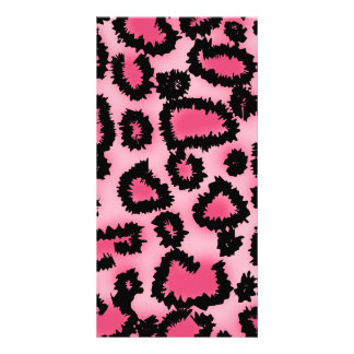 Pink and Black Leopard Print Pattern. Personalized Photo Card