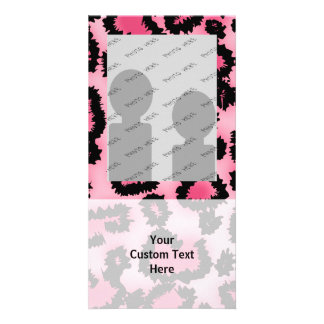 Pink and Black Leopard Print Pattern. Picture Card