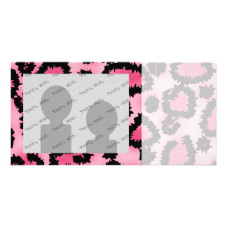 Pink and Black Leopard Print Pattern Personalized Photo Card
