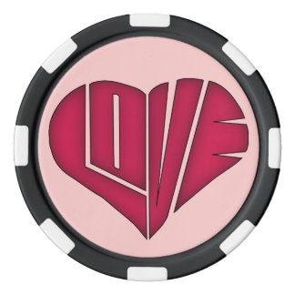 Pink and Black LOVE Personalized Couple Poker Chip Set Of Poker Chips
