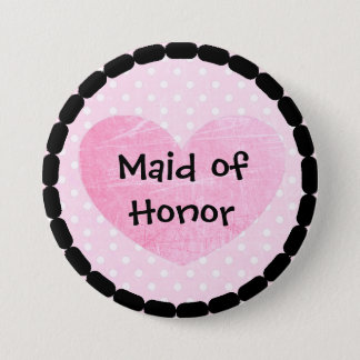 Pink and Black Maid of Honor Bridal Shower Button