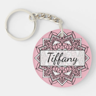 Pink and Black Mandala Key chain