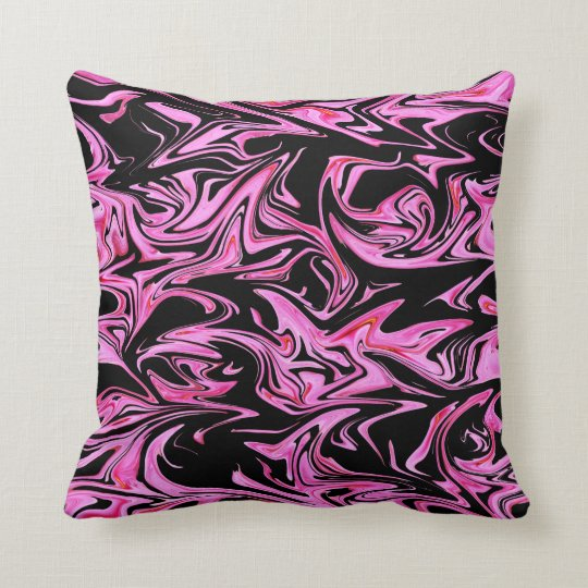 Pink And Black Marble Fairy Floss  Throw Cushion. Throw Pillow