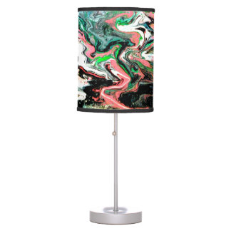 Pink and Black Marbled Bowling Ball Lamp