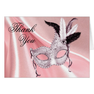 Pink and Black Masquerade Party Thank You Card