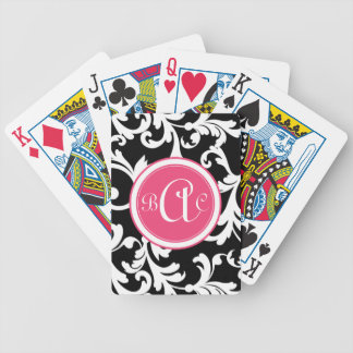 Pink and Black Monogrammed Damask Print Bicycle Playing Cards