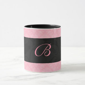 Pink and Black Monogrammed Feminine Damask Mug