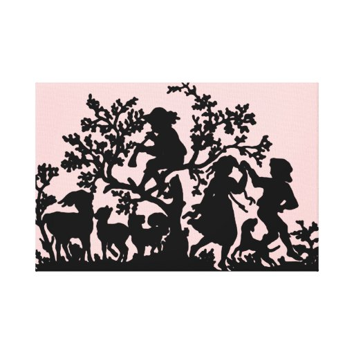 Pink And Black Music And Dancing. Stretched Canvas Prints