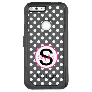 Pink and Black, Name and Initial with Polka Dots OtterBox Commuter Google Pixel XL Case