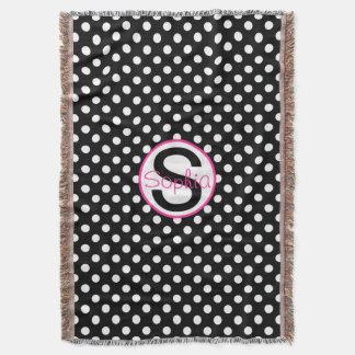 Pink and Black, Name and Initial with Polka Dots Throw Blanket