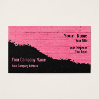 Pink and Black Painted Brick Wall Business Card
