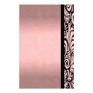Pink and Black Paisley Stationary Custom Stationery