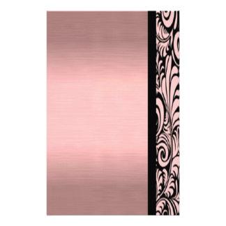 Pink and Black Paisley Stationary Custom Stationery